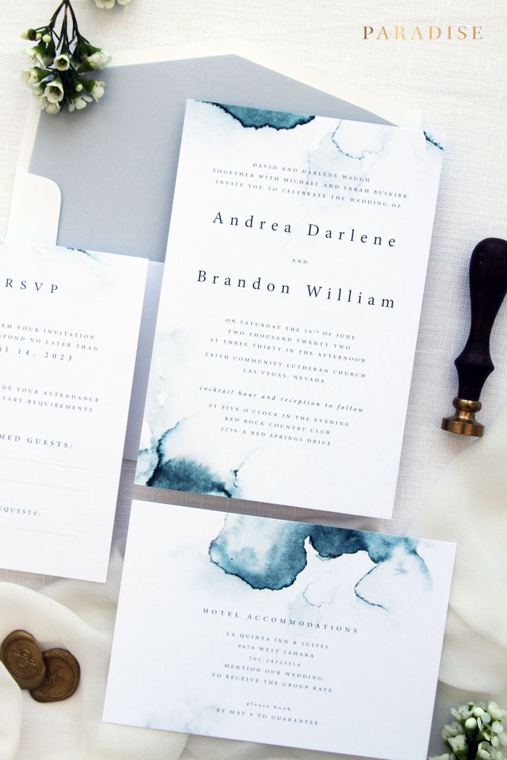 real simple unique wedding invitations%0A Zara   Wedding Invitation Sets  Printable Invitations or Printed Invitations   Watercolour Ocean Blue Invitations