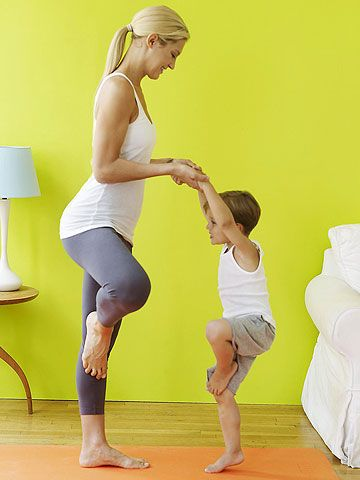 Face your child and stand 2 or 3 feet away from him. Place right foot on the inside of left leg, then hold his hands. Tell your child to place his left foot on the inside of his right leg. Bend standing knee and lightly jump in place; switch legs and repeat for 10 to 30 seconds.