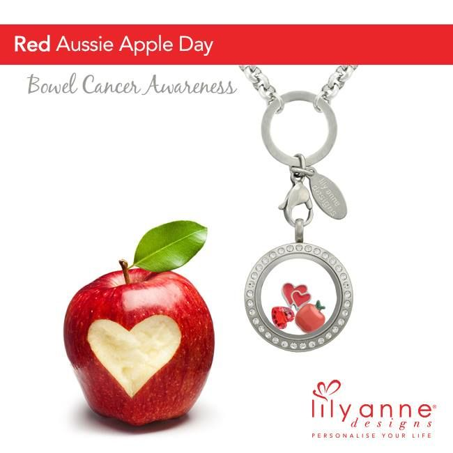 Lily Anne Designs Personalised Lockets {Red Aussie Apple Day} Wear your Red Apple charm for Bowel Cancer Australia Awareness www.lilyannedesigns.com.au #LilyAnneDesigns #PersonalisedLockets