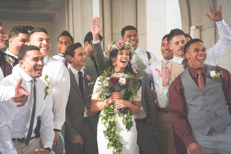 Wedding day happiness – Groomsmen shot, Tongan Wedding, Mount Timpanogos Temple
