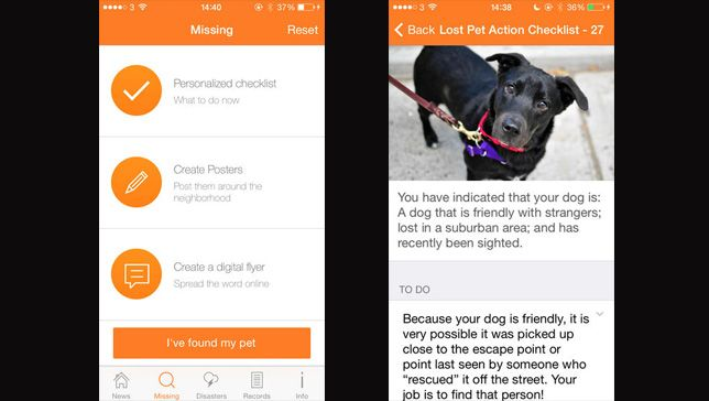 ASPCA app creates customized search plans for lost pets The mobile app lets users input information about their pets' personalities and medical histories, and it creates digital lost-pet fliers that can be easily shared on social media.