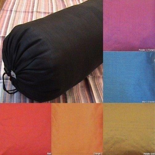 Round Bolster cover faux silk yoga massage neck pillow removable many size color #Saffron