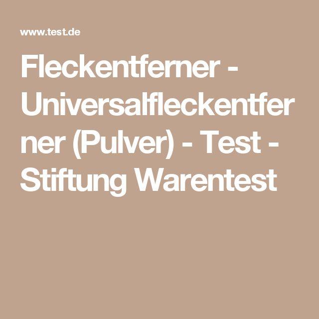Fleckentferner - Universalfleckentferner (Pulver) - Test - Stiftung Warentest