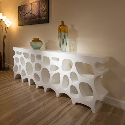 Modern Sideboard / Cabinet / Bookcase in White High Gloss 2.5 mtr - Honeycomb Sideboard