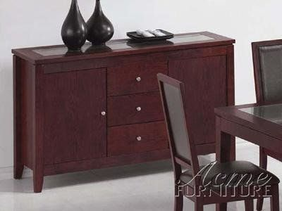 Albury Dining Sideboard by Acme by Acme Furniture. $579.99. Albury Dining Sideboard by Acme The Albury Collection is perfectly transitional with its contemporary style and classic lines just right for any dining room. Crafted from solid hardwoods and veneers in a dark finish creates a dining room sure to delight the entire crowd for everyday dining or special occasions. This Sideboard features two cabinet space and three drawers with glass top for extra accents a...