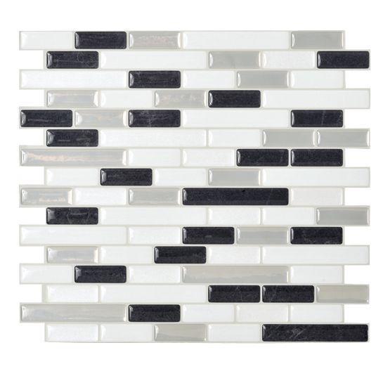 "Muretto Alaska 10.20"" x 9.10"" Peel & Stick Wall Tile in White, Gray & Charcoal"