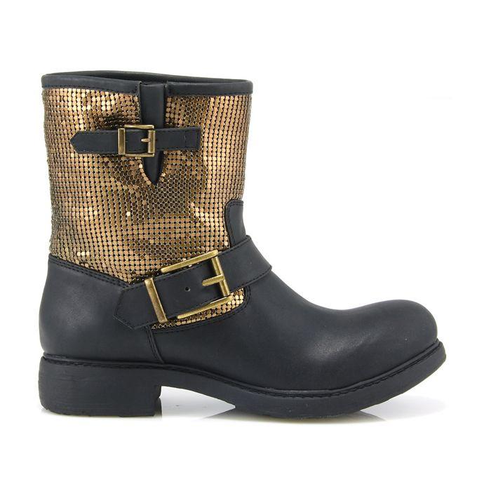 Gold detail biker boots MOD: 737004212