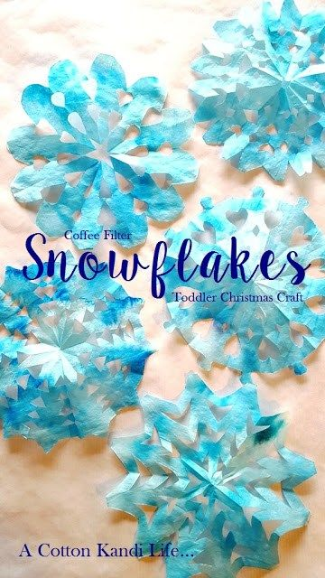 Great holiday craft for toddlers. Snowflakes from coffee filters.