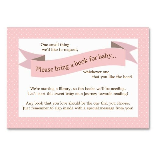 pink baby shower book insert request card for girl pink baby showers