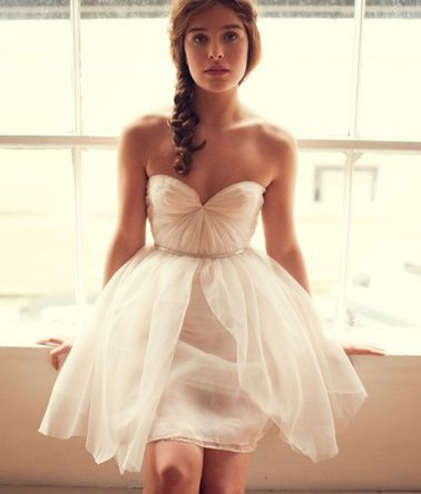 2012 Wedding Trends: The Little White Dress Instead of the big dramatic number, many brides are cutting back in more ways than one. As budget-conscious brides have chipped away at the idea of the traditional wedding, their wedding gowns have also become more casual and comfortable. bridal-bliss-wedding-inspiration