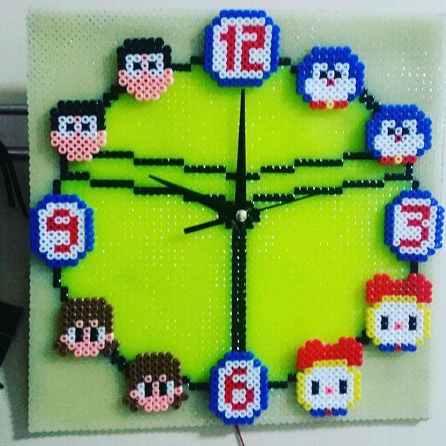 Doraemon clock perler beads by patseah