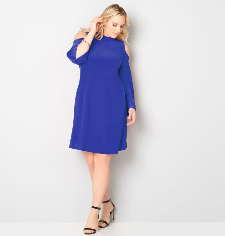 Shop dresses in mod shapes like our new plus size Mockneck Cold Shoulder Dress available in sizes 14-32 online at avenue.com. Avenue Store