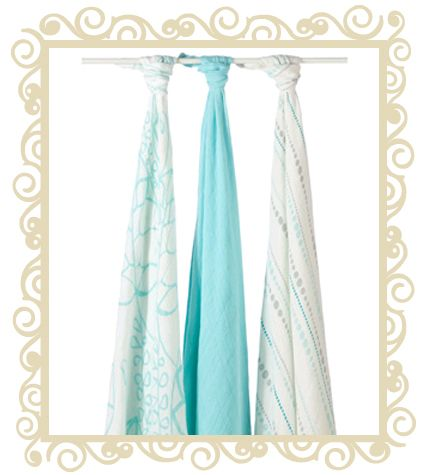 """Aden+Anais 3 Bamboo Swaddles Azure. perfect baby shower gift idea. Pack of three muslin swaddling blankets made using rayon from bamboo fiber. aden + anais® wraps are the ultimate in breathability and softness.The lightweight muslin permits air to circulate around the baby's body, while still providing comfort and warmth without the worry that the baby may overheat in moderate weather.The more you wash aden + anais® wraps, the softer they get. wraps are extra large, measuring 47"""" x 47""""…"""