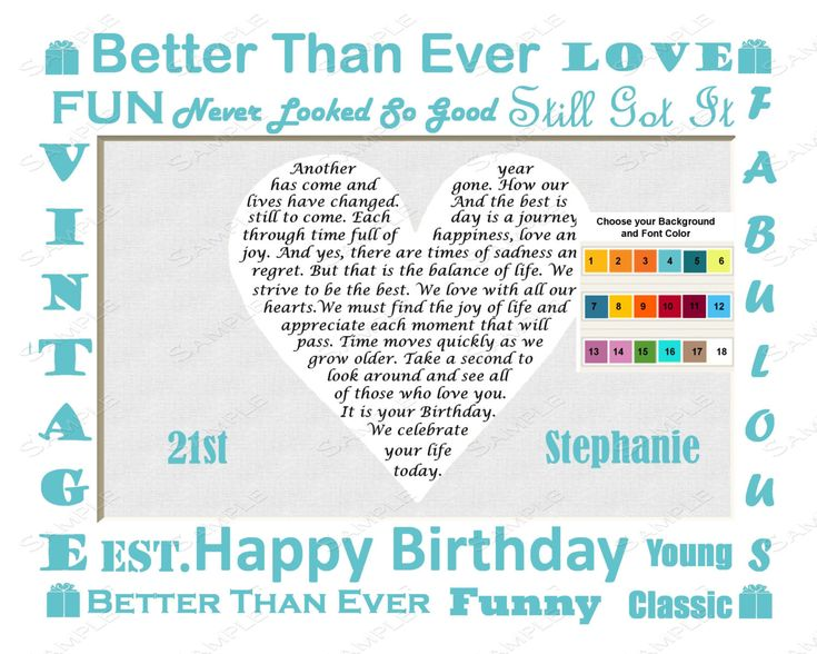 21st Birthday Gift, Birthday Poem