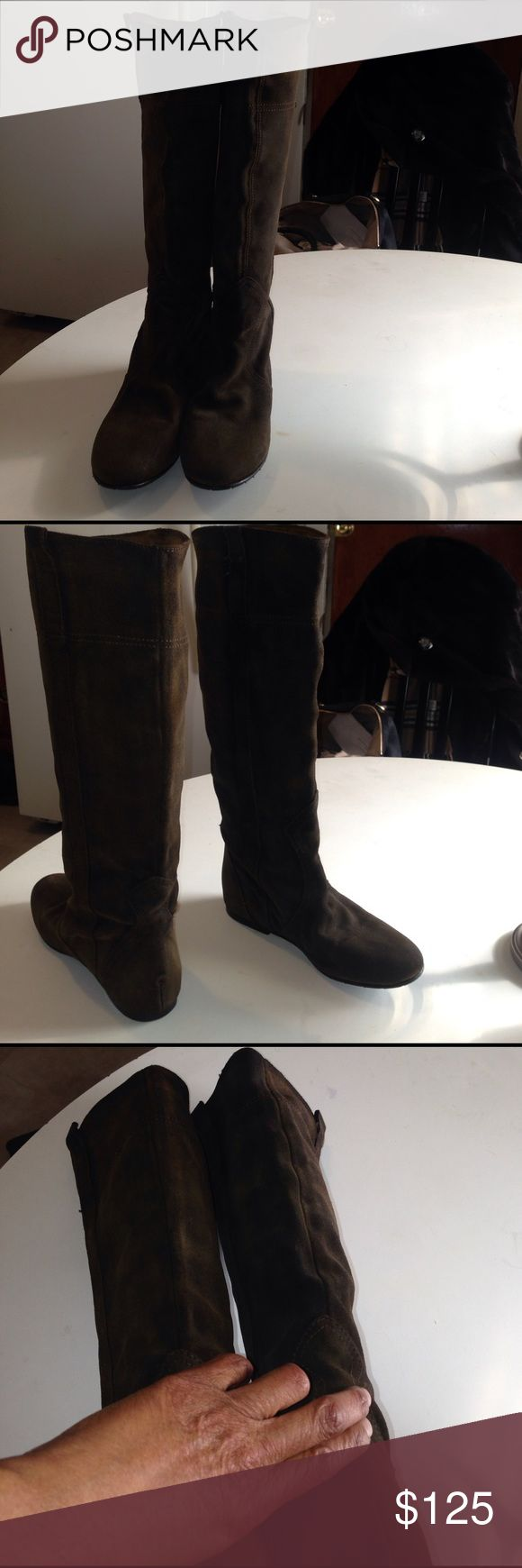 Fabio Rusconi knee high boots Pull up Suede purposely distressed brown long boots. Strips on top side. Leather & rubber soles.  Quality comfy & stylish fabio Rusconi Shoes Winter & Rain Boots