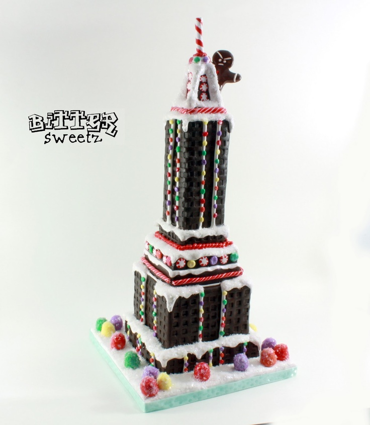 """Gingerbread"" Empire State Building with Ginger Kong on top! Clay sculpture by Bitter Sweetz."