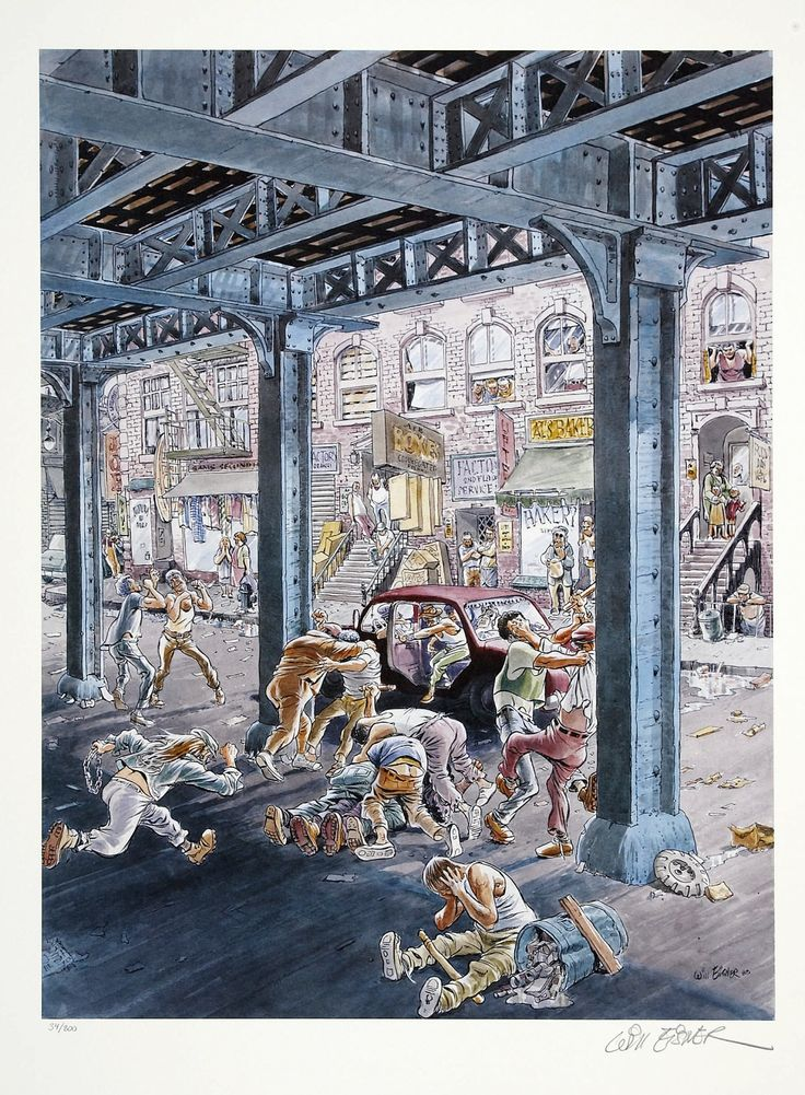 """Turf War"" by Will Eisner, a signed print from 1988."