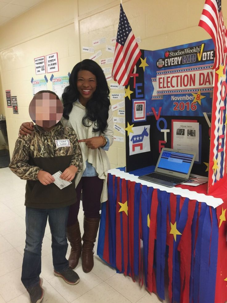 """I created our very own little voting booth! I gave kids a voter registration card to fill out (which they had to have present when voting)! To actually """"vote""""....the booth had a chrome book and students used a voting ballot that I created with Google Forms on my website. And of course, no voting experience is complete with a sticker saying you actually did it!  #voting #election #school #votingbooth"""