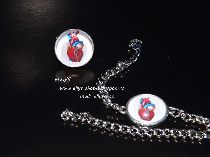 Ellys Shop: Set bratara si inel imagine inima