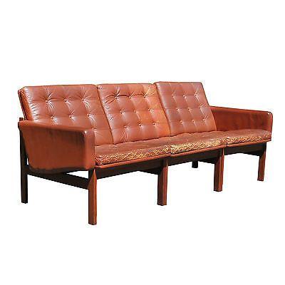 france u0026 sons danish leather teak sofa mid century modern peter hvidt finn juhl