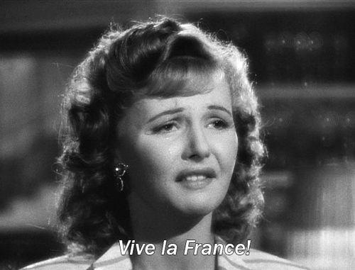 nitratediva: Je suis de tout coeur avec la ville de Paris ce soir. Vive la France! Madeleine LeBeau in Casablanca (1942).