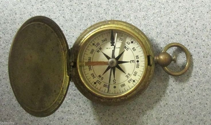 Vintage WALTHAM US BRASS WWII MILITARY BRASS POCKET COMPASS WORKS GREAT! Rare