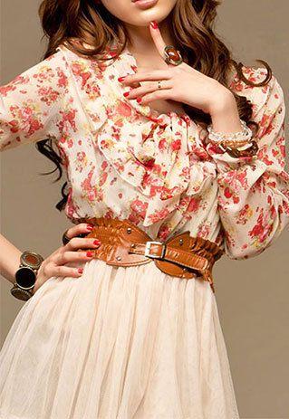 Vintage Fashion Sweet Bohemia Floral Lotus Leaf Collar Corset Belt Dress