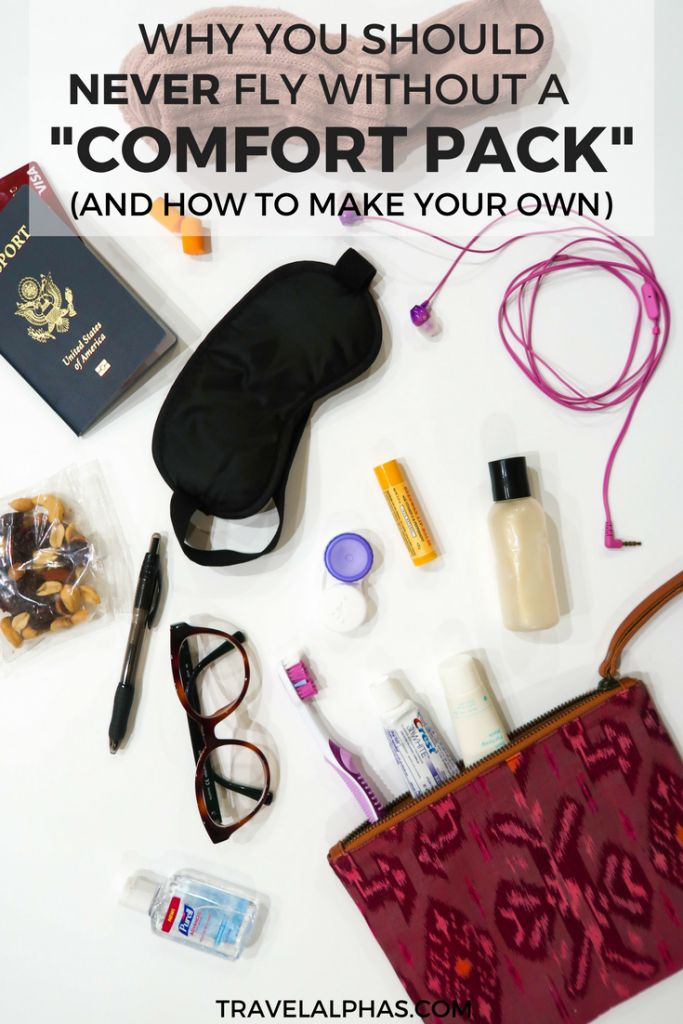 If you want to survive a long flight, then you need to create your own travel comfort pack to put in your carry-on bag! This article will explain why you need a comfort pack, as well as how to create your own. | Travel tips | Packing tips | International Travel Tips | Airplane Tips | Airplane Hacks | Travel Hacks | Hacks for Airplane Travel | How to pack your carry-on bag | Comfort on Long Flights | Tips for Flying | DIY Travel Comfort Pack |
