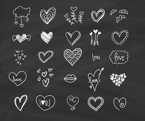 Chalkboard Hearts Clip Art | Hand Drawn Clip Art | Digital Hearts Clipart | Chalk Drawing Wedding Invitation | [001]