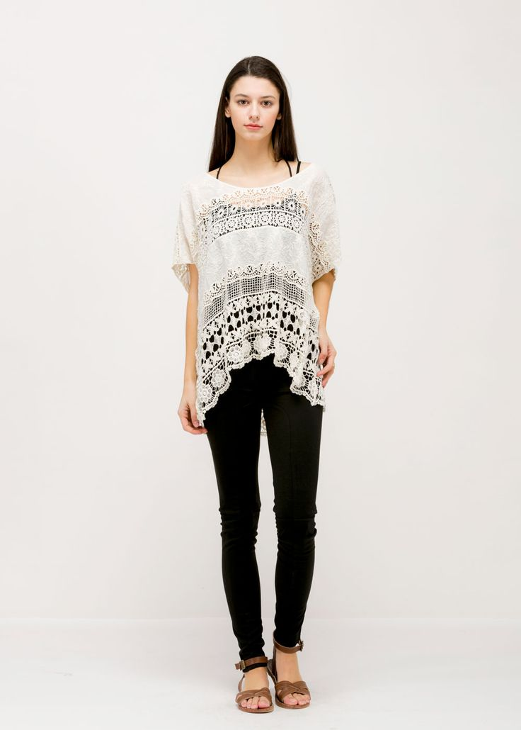 Flower Lace Poncho (GM3253) IVORY/ Contents: 100% Cotton/ One Size Fits All