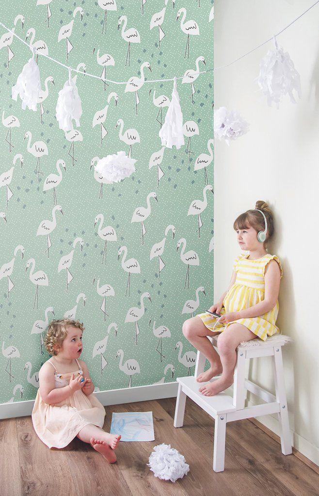 Behang Pastel Groen.Behang In Paradise Pastelgreen Kinderen Behang
