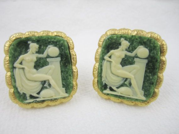 Vintage Cufflinks Cameo Nude Cuff Links by LadyandLibrarian, $81.00 #vintage #cufflinks #ladyandlibrarian