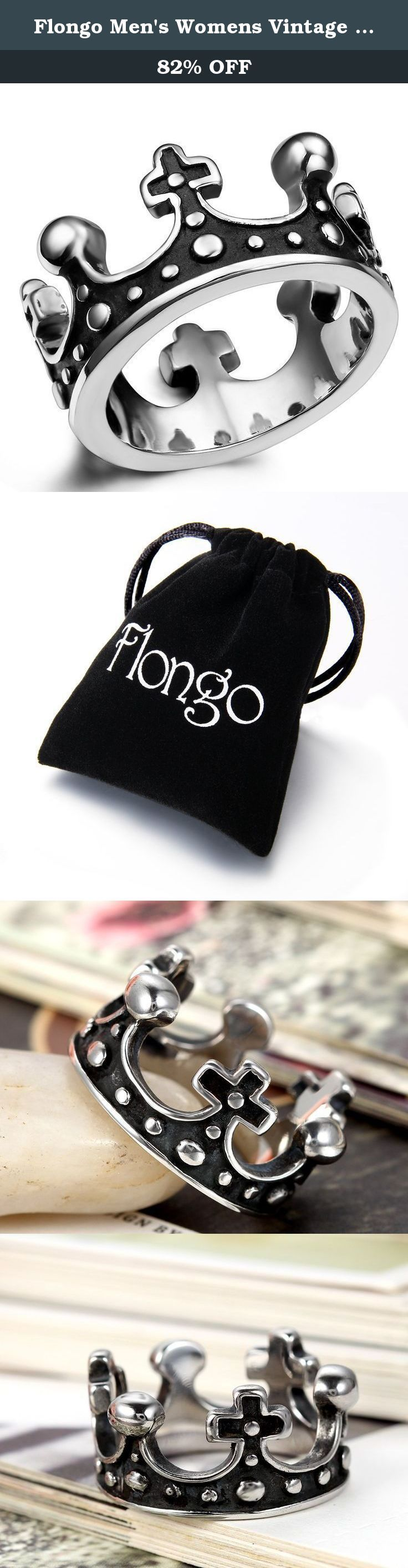 Flongo Men's Womens Vintage Stainless Steel Ring Black Silver Queen King Crown Gothic Band, Size 10. Flongo Men's Womens Vintage Stainless Steel Ring Black Silver Queen King Crown Gothic Band Mens Womens 22mm: 6, 7, 8, 9, 10, 11, 12 Material: Stainless Steel Package Included: 1 x Flongo Stainless Steel Ring 1 x Gift Bag Why choose Stainless Steel Jewelry? Stainless steel does not readily corrode, rust or stain with water as ordinary metal does. Its resistance to corrosion and staining…