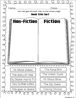 "Fiction vs. Non-Fiction sort...how to make a construction paper flip book (first, next, then, last...can also be used with Power Writing ""hamburgers"") and more!"
