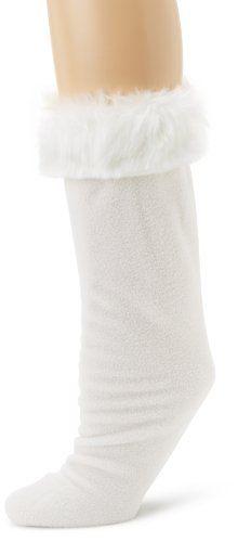 Betsey Johnson Women's Fur Cuff Calf Length Welly Sock, Cream, Small/medium