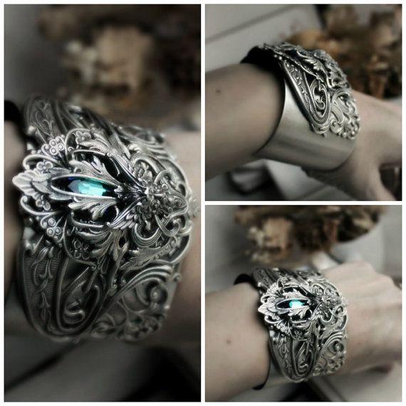 Water Elemental Aged Sterling Silver Cuff Bracelet with ocean blue Swarovski crystal. #Jewelry #Handmade