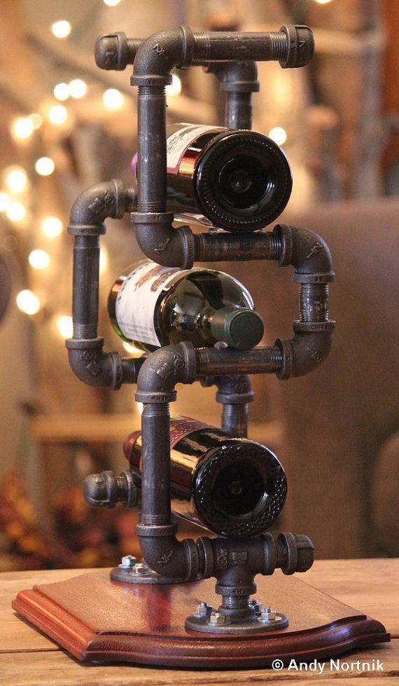 Wine Rack Modern Industrial Style Handmade Designer Housewares Fixture Art Displaying Vintage Winery Bottles Home Man Cave Winerack