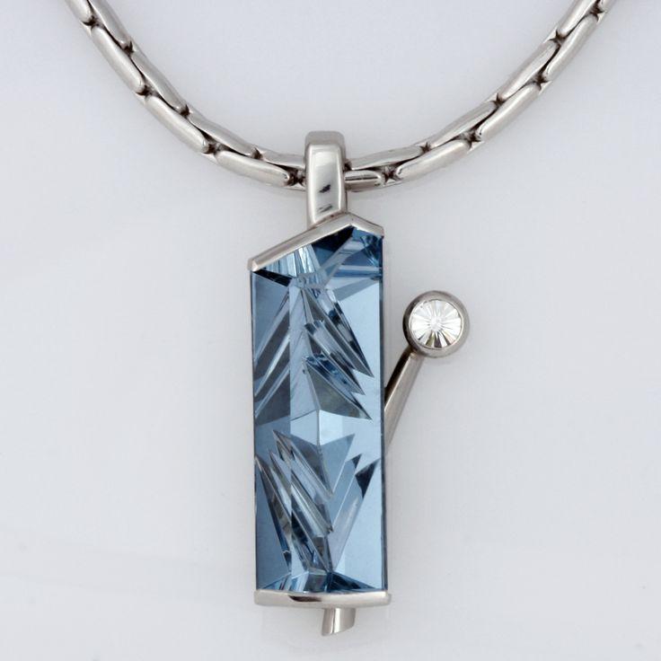 Palladium aquamarine and diamond pendant www.robertpaul.com.au