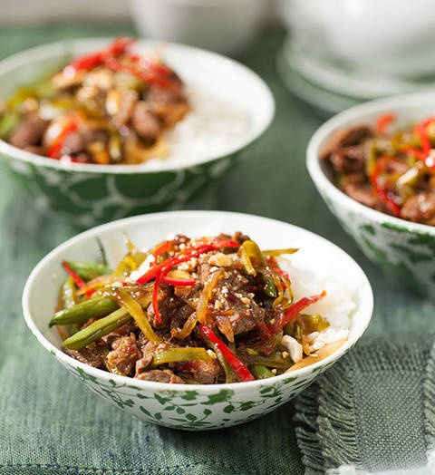 Chilli-jam beef, bean and cashew stir-fry: In a jam come dinnertime? Wok on! Enjoy tender, tasty beef and crunchy vegies. The rice takes just a couple of minutes in the microwave, and you're set!