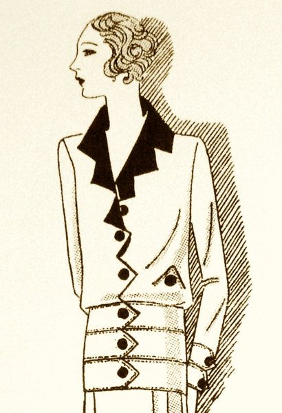 Vintage modern 1920s sewing pattern. Zigzag lapel by Contrapunt, €25.00