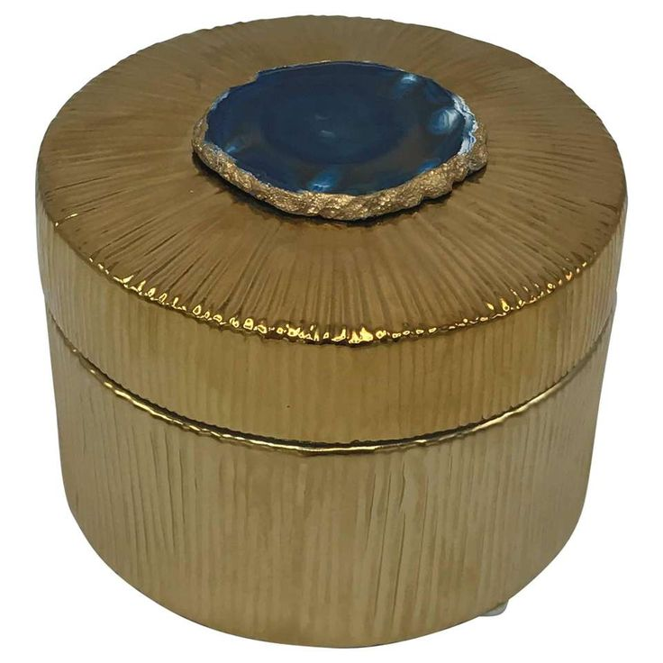 Modern Gold Ceramic Blue Agate Rock Decorative Box 1