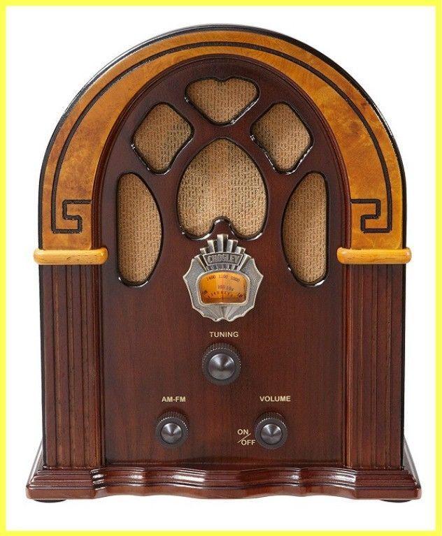 Antique Wood Radio Retro AM/FM & Full-Range Speaker Walnut & Burl Perfect Gift #AntiqueWood