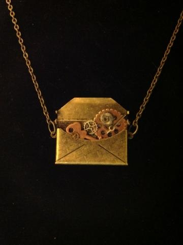 Steampunk Necklace: Brass Envelope Filled w Watch Parts & Copper Key by StyleMeIndie for $25.00