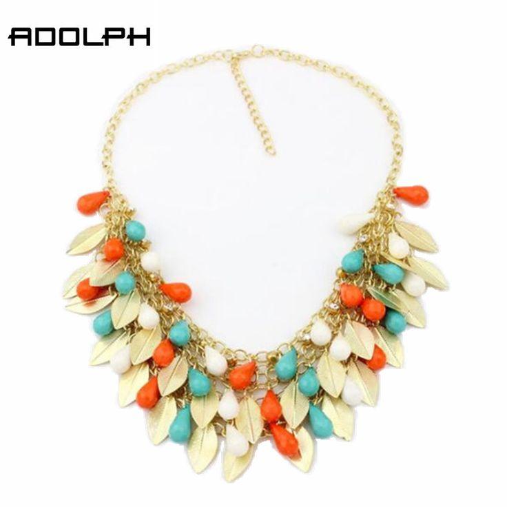 Bintang perhiasan fashion bohemia 5 warna zinc alloy leaf beads pernyataan kalung untuk wanita 2015 baru liontin choker kalung 35
