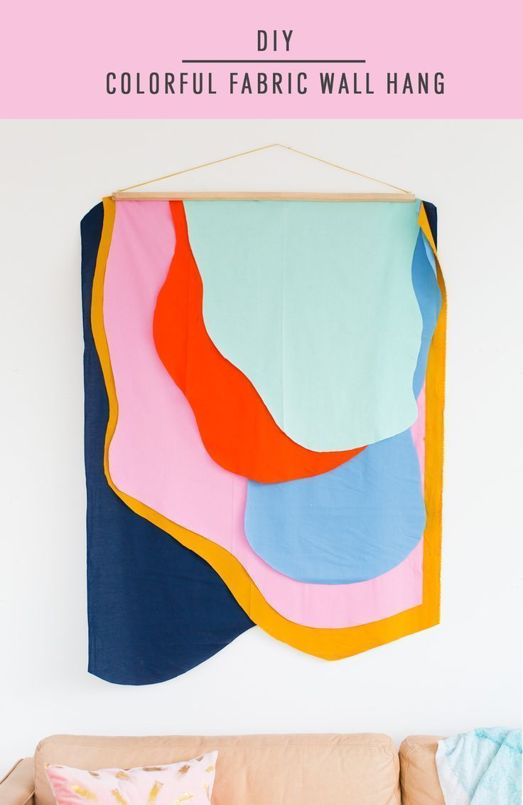 Colorful DIY Fabric Wall Hanging by top Houston lifestyle blogger Ashley Rose of Sugar and Cloth #diy #homedecor #decor #howto #craft #easy #wallhang #colorful #design #art #wallart #home #interiors