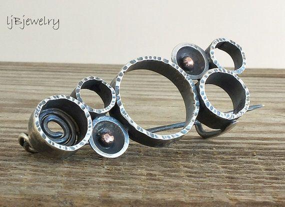 Sterling Silver Brooch Circle Brooch Silver Pin by LjBjewelry