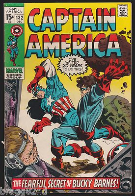 1970 Marvel Comics CAPTAIN AMERICA #132 comic book BUCKY BARNES, Stan Lee __XVI__
