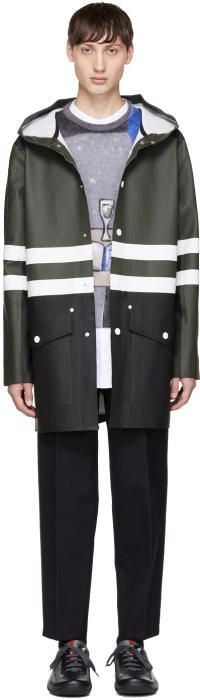 Marni Green and Black Stutterheim Edition Colorblock Raincoat