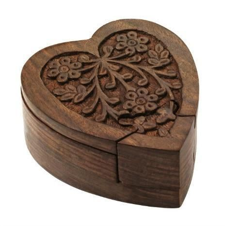 Sheesham Wood Heart Puzzle Box Wood Box Design Puzzle Box Wooden Hearts