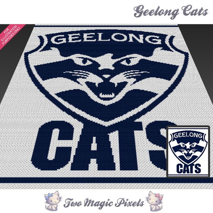 Geelong Cats crochet blanket pattern; knitting; cross stitch graph; pdf download; no written counts or row-by-row instructions by TwoMagicPixels, $5.99 USD